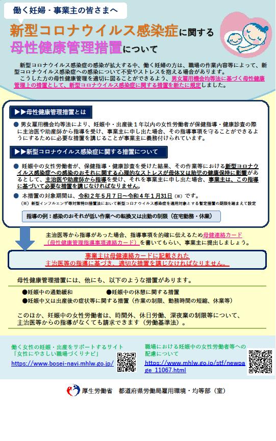 新型コロナウイルス感染症に関する母性健康管理措置について|千葉労働局